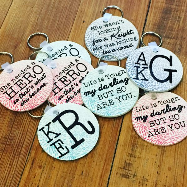 RS Girl Power Monogram Keychains